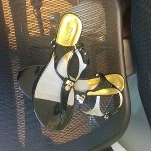 Michael kors black patent leather wedge sandles